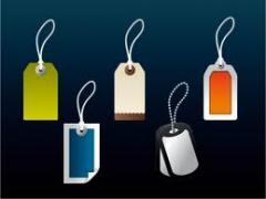 Еtiquetas, etiquetas colgantes, cajas de cartón