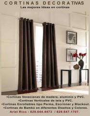 •Cortinas Venecianas de madera, aluminio y PVC. •Cortinas Verticales de tela y PVC., Enrollables tipo Perma, Escrinner y Blackout, Bambú, , deslizantes.